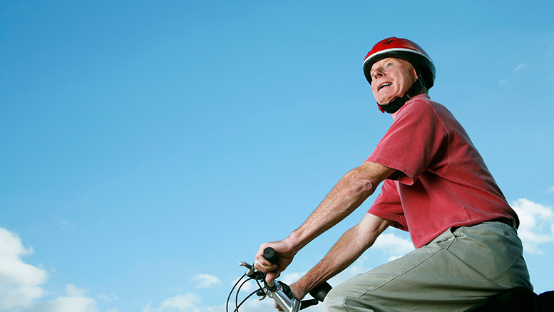 Older man on a bike